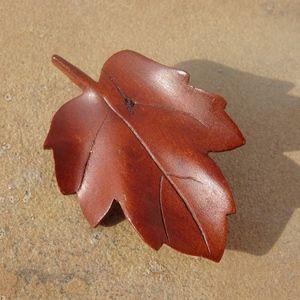 Vintage Hand Carved Wooden Leaf Pin Brooch